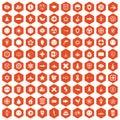 100 emblem icons hexagon orange