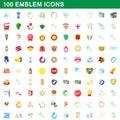 100 emblem icons set, cartoon style