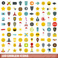 100 emblem icons set, flat style