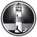 Emblem lighthouse boat anchor Royalty Free Stock Photography