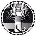 Emblem lighthouse boat anchor Royalty Free Stock Photography