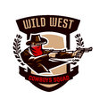 Emblem, logo, cowboy shooting from two revolvers. Wild west, a thug, Texas, a robber, a sheriff, a criminal, a shield