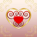 Emblem of love gold on a pink background Stock Photography