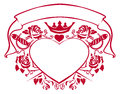 Emblem of love - shape heart, dagger, crown, ribbon and roses Royalty Free Stock Photo