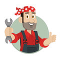Emblem mechanic holds wrench in circle illustration format eps Royalty Free Stock Photography