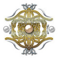 Emblem on metal background Royalty Free Stock Image