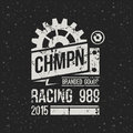 Emblem racing championship in retro style graphic design for t shirt white print on f dark background Stock Image