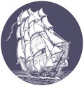 Emblem of sail ship Stock Photography