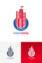 Emblem with skyscrapers modern silhouette Stock Images