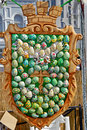 The emblem an unidentified made of ukrainian easter eggs Stock Photos