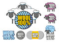 Emblem of wool sheep depicting and the words hundred percent Royalty Free Stock Photography