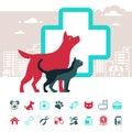 Emblema di vettore ed insieme veterinari dell icona degli animali domestici Fotografie Stock Libere da Diritti