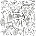 Garden Traditional Doodle Icons Sketch Hand Made Design Vector Royalty Free Stock Photo