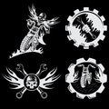 emblems with skull,flames and wrenches Royalty Free Stock Photo