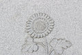 Emboss sunflower on grey wall, horizontal
