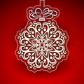 Embossed christmas bauble elegant hanging Royalty Free Stock Images