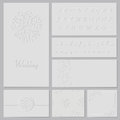 Embossed wedding set frame invitation seamless pattern elements alphabet cards envelope Royalty Free Stock Photo