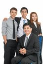 Embraced staff around seated chairman isolated Stock Photography