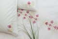 Embroidered bedding Royalty Free Stock Photo