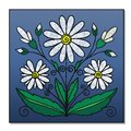 Embroidered bouquet of daisies on a blue background