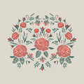 Embroidered composition with roses flowers, buds and leaves. Satin stitch embroidery floral design on beige background Royalty Free Stock Photo