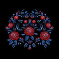 Embroidered composition of roses flowers, buds and leaves. Satin stitch embroidery floral design on black background Royalty Free Stock Photo