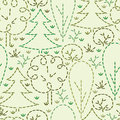 Embroidered forest seamless pattern background vector with hand drawn elements Royalty Free Stock Images