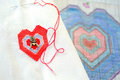 Embroidered heart Royalty Free Stock Photo