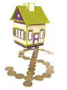 Embroidered house with dollar path of euro coins an has a leading to the door made and forming the symbol Stock Images