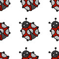 Embroidered ladybug on a white background - seamless pattern. Ha