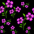Embroidered purple flowers on black background seamless pattern