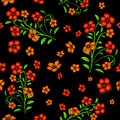 Embroidered red flowers on black background