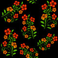 Embroidered red flowers on black background seamless pattern