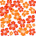 Embroidered red orange flowers on white background seamless pat