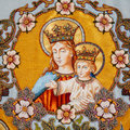 Embroidered religious icon Virgin Mary holding Jesus