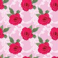 Fabric seamless pattern with embroidered roses Royalty Free Stock Photo