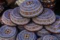 Embroidered skull-caps. Turkmenistan. Ashkhabad Royalty Free Stock Photo
