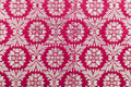 Embroidered textile oriental shiny handmade pattern made of threads Royalty Free Stock Photo