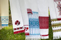 Embroidered Ukrainian traditional towels Stock Photo
