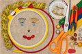 Embroidery accessories smiling face put with over outline concept Royalty Free Stock Photography