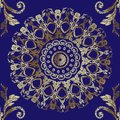 Embroidery Baroque seamless mandalas pattern. Vector gold tapestry floral ornament. Grunge texture. Embroidered ornate vintage