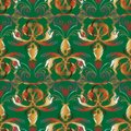 Embroidery baroque vector seamless pattern. Green floral background. Tapestry colorful wallpaper. Grunge damask Royalty Free Stock Photo