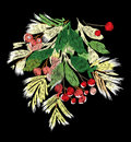 Embroidery on a black background. Christmas