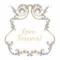 Embroidery with blue and beige vintage frame