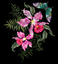 Embroidery brigt trend floral pattern with orchids and butterfly