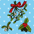 Embroidery christmas patches with mistletoe.