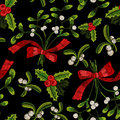 Embroidery christmas seamless pattern with mistletoe.