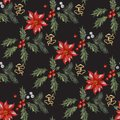 Embroidery christmas seamless pattern with red flowers, pine and mistletoe.