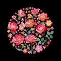 Embroidery circle pattern with beautiful red and pink flowers. Colorful bouquet on black background. Floral vector illustration