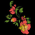 Embroidery for the collar line. Floral ornament in vintage style